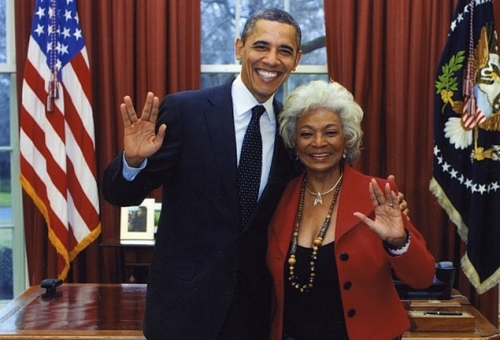 President Obama with Nichelle Nichols in 2012