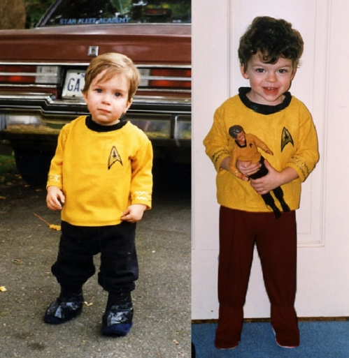 The photos of my (then) toddler sons in their Kirk gear. I presented these to Bill in the autograph line; he got a kick out of them
