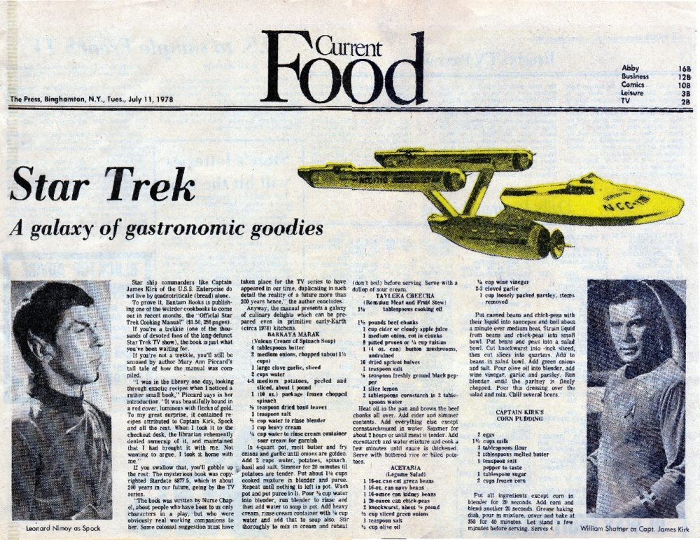 The Daily Scrapbook 3/7/13 --  July 11.1978, 'A Galaxy of Gastronomic Goodies' (1/2)