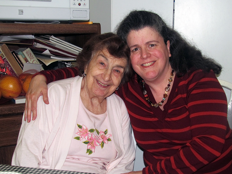 Me, (right) with Mom, Anna, on April 30, Therese's birthday)  Please keep Mom in your prayers to heal from her bad fall.  Thanks.