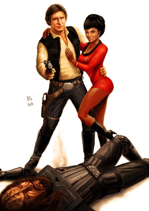 star_wars_meets_star_trek___han_solo_and_uhura_by_rhymesyndicate-d5ta7v0