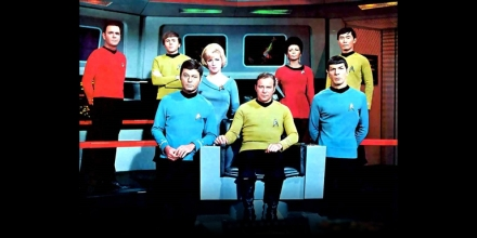 James, DeForest, and Majel are all gone now. Sooner or later they all will be. Back Row: James Doohan (1920-2005), Walter Koenig (1936), Majel Barrett (1932-2008), Nichelle Nichols(1932), George Takei (1937). Front Row: DeForest Kelley (1920-1999), William Shatner(1931), Leonard Nimoy (1931).