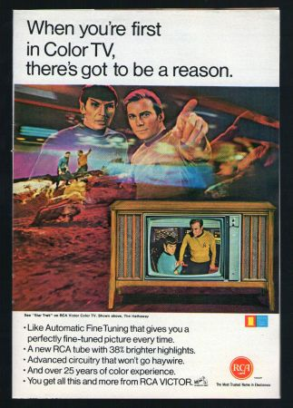 Star Trek was great reason to get color TV in the '60's.  Here's a beautiful RCA ad that promotes Star Trek.