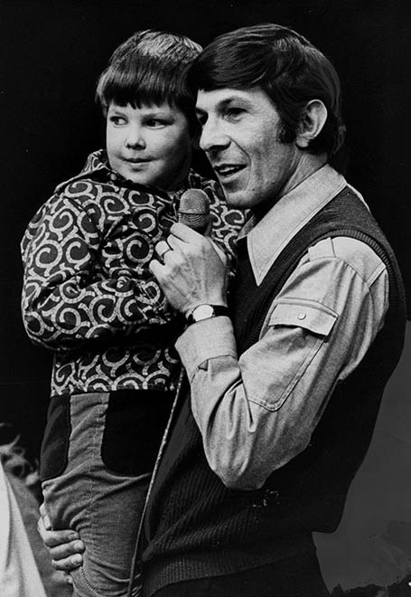 February 11 1973. Leonard Nimoy with Danny at the variety Club Telethon. Negative # 73- 452. Glenn Baglo / Vancouver Sun [PNG Merlin Archive]