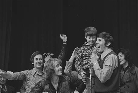 February 11 1973. Leonard Nimoy with Danny at the Variety Club Telethon. Also pictured is Bob McGrath from Sesame Street Negative # 73- 452. Glenn Baglo / Vancouver Sun