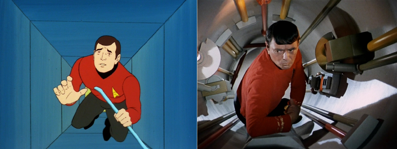 "Scotty in a shaft in ""Once Upon a Planet"" and in the Jeffries Tube in ""The Naked Time""."